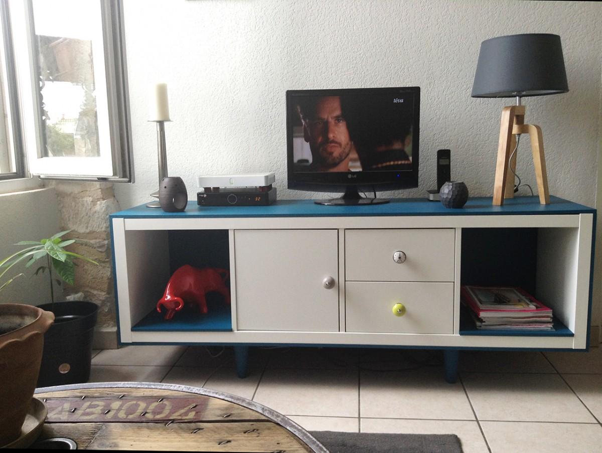 meuble tele annees 50 avec kallax