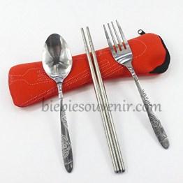 souvenir pernikahan sendok garpu travel merah