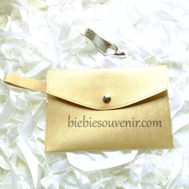 souvenir pernikahan gold leather pouch bag