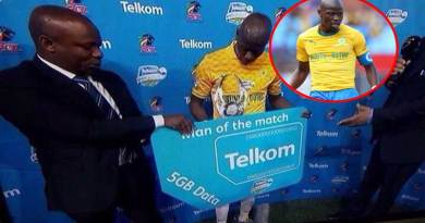Mamelodi Sundowns FC footballer hlompho kekana wins 5gig data for man of the match.