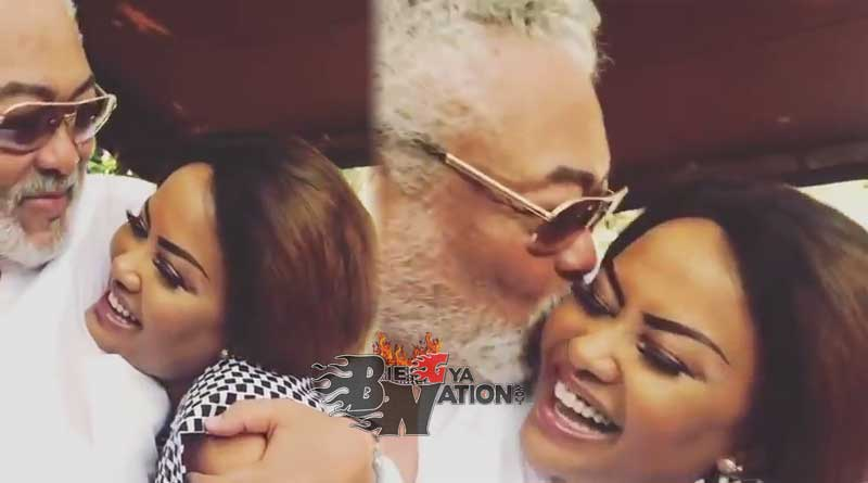 Nana Ama McBrown gets a kiss from Jerry John JJ Rawlings.