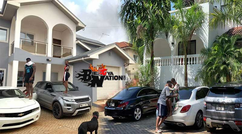 Medikal with his wife Fella Makafui with each standing on car at their Lakeside Estate in Accra.