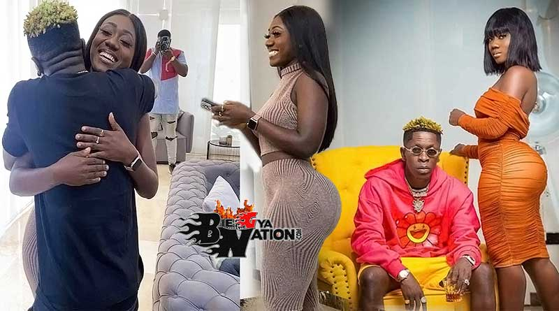 Hajia Bintu and Shatta Wale hug themselves as they meet for the first time
