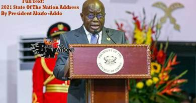 Full text of 2021 State of the Nation Address by President Nana Addo Dankwa Akufo-Addo to 8th Parliament of Ghana.