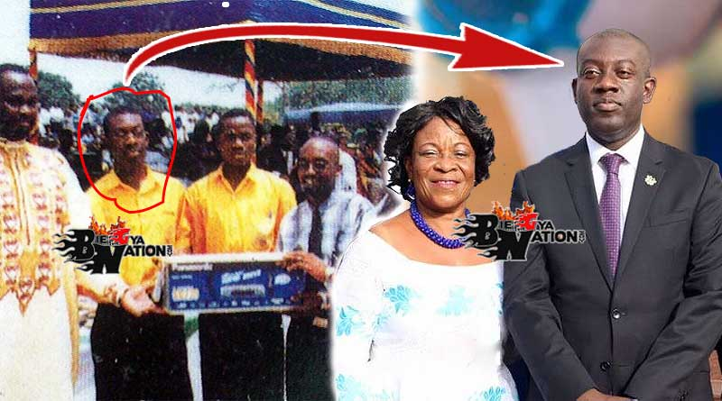 Old photo of Kojo Oppong Nkrumah at Pope John Senior High School in 2000 and his mother Felicia Oppong Nkrumah