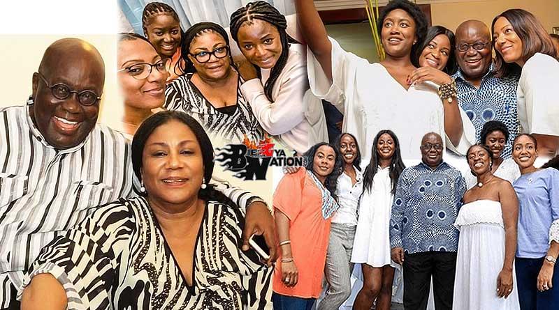 Nana Akufo-Addo and Rebecca daughters, Gyankroma Funmi Akufo-Addo, Edwina Nana Douka Akufo-Addo, Adriana Dukua Akufo-Addo, Yeboakua Akufo-Addo, Valerie Obaze.