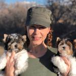 Karen Hansen with Biewer Terrier Puppies