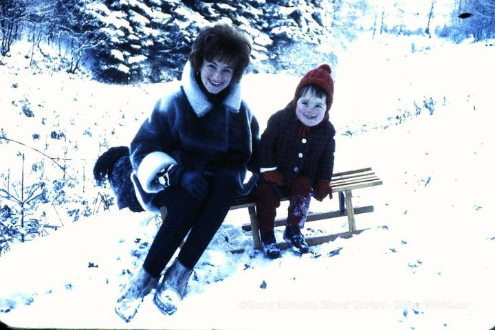 Gertrud Biewer with her niece and a sled