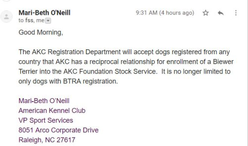 email from AKC Registration FSS