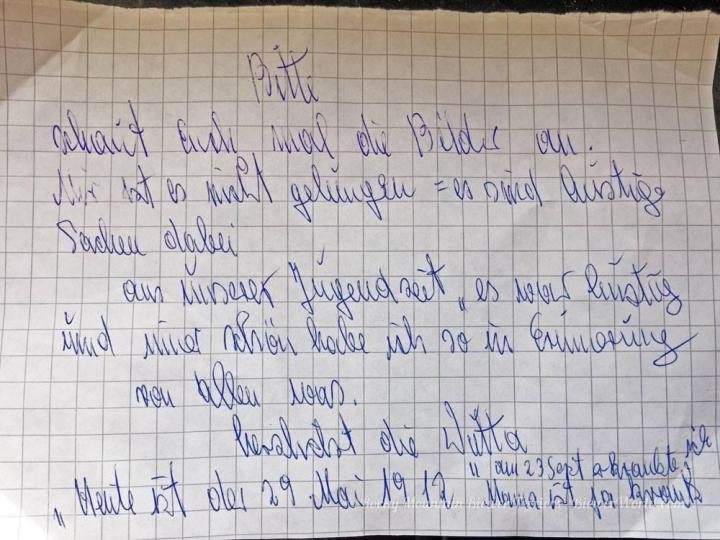 handwritten note from Gertrud Biewer
