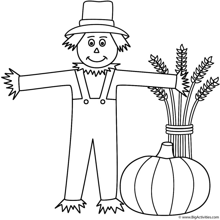 scarecrow  wheat sheaf and pumpkin  coloring page