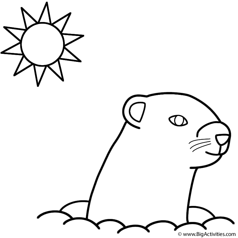 Happy Groundhog Day Coloring Page Groundhog Day