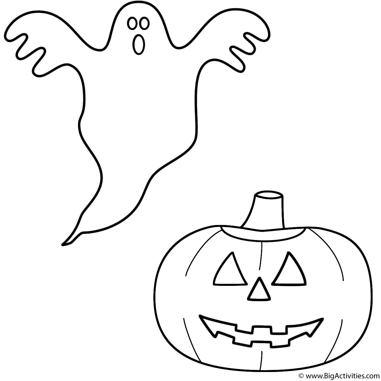Ghost With Pumpkin Jack O Lantern