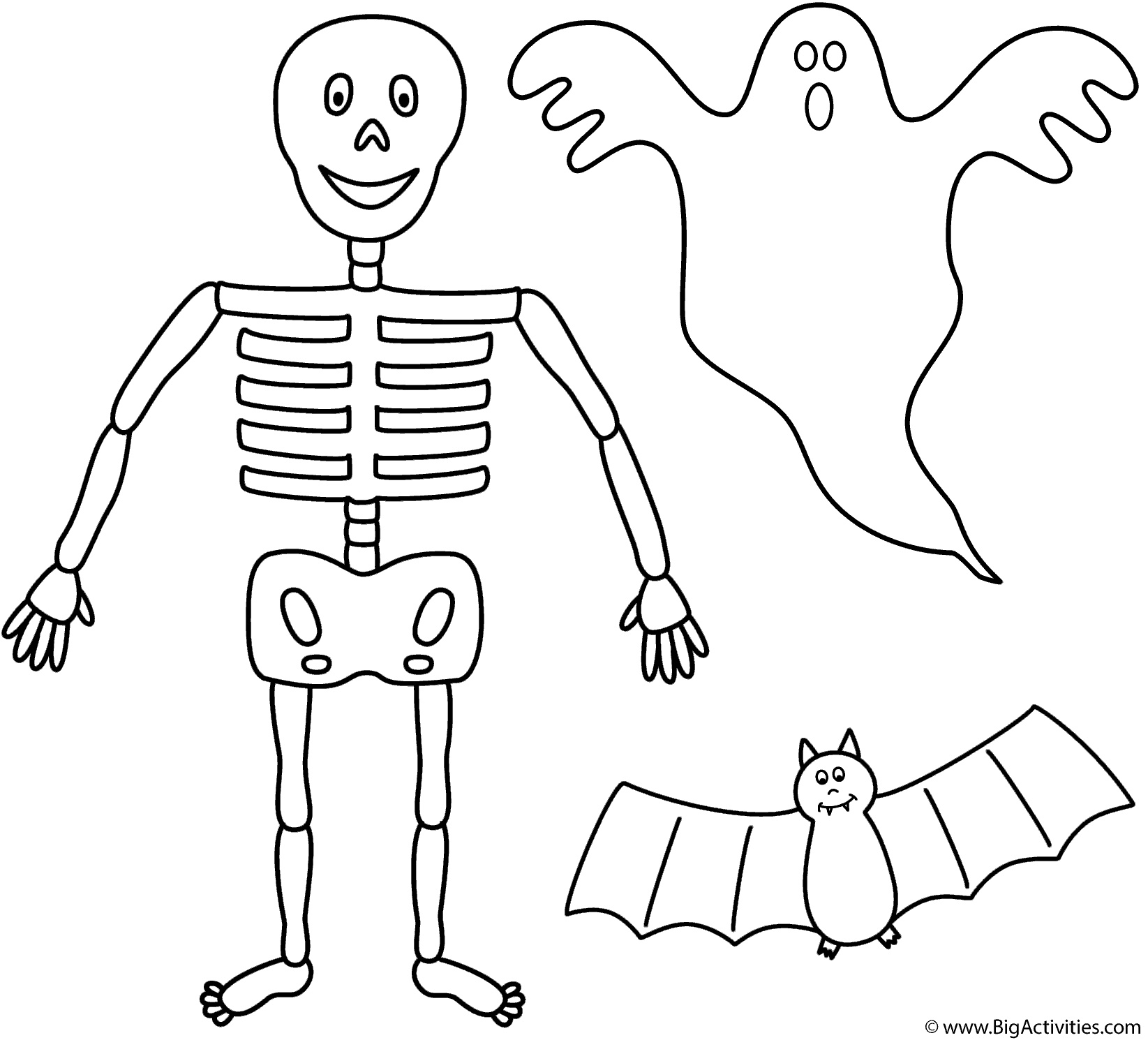Skeleton With Bat And Ghost