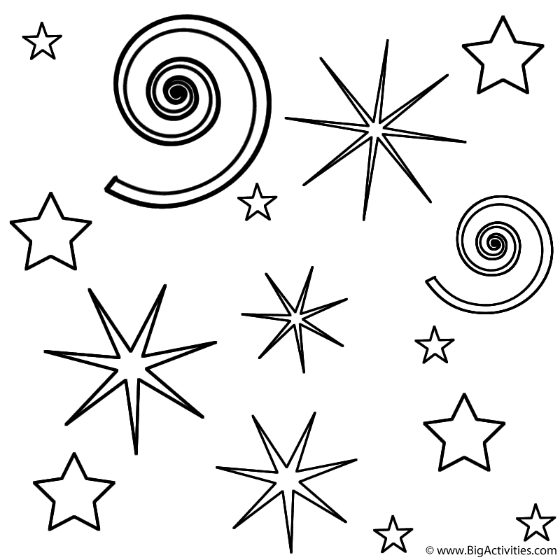Fireworks And Swirls Coloring Page Independence Day