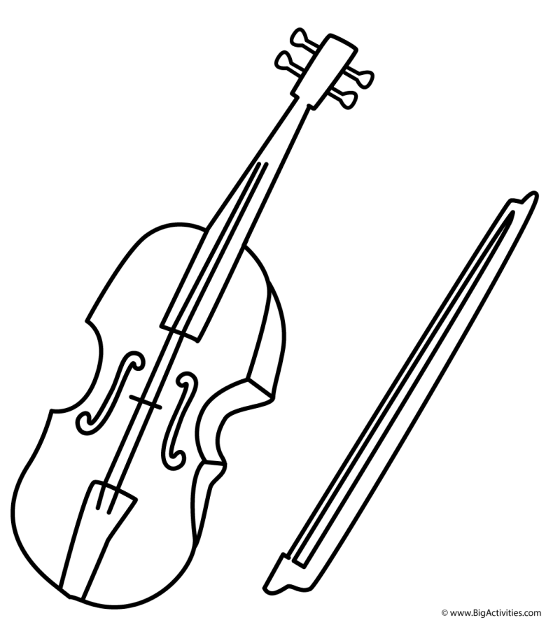 violin - coloring page (musical instruments)