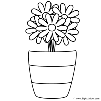 Flowers in Vase with Stripes - Coloring Page (Plants)