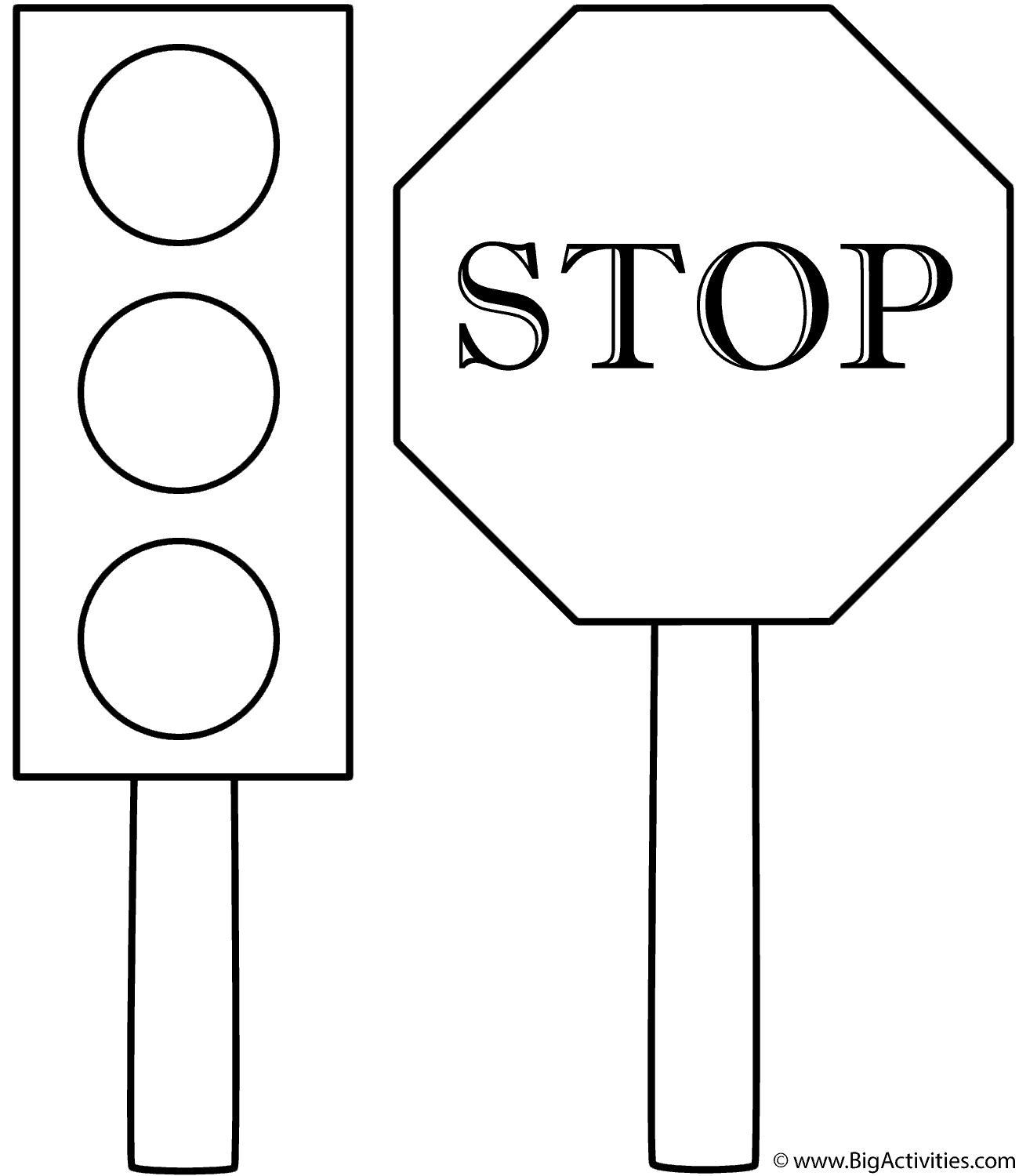 Traffic Signals Coloring Pages