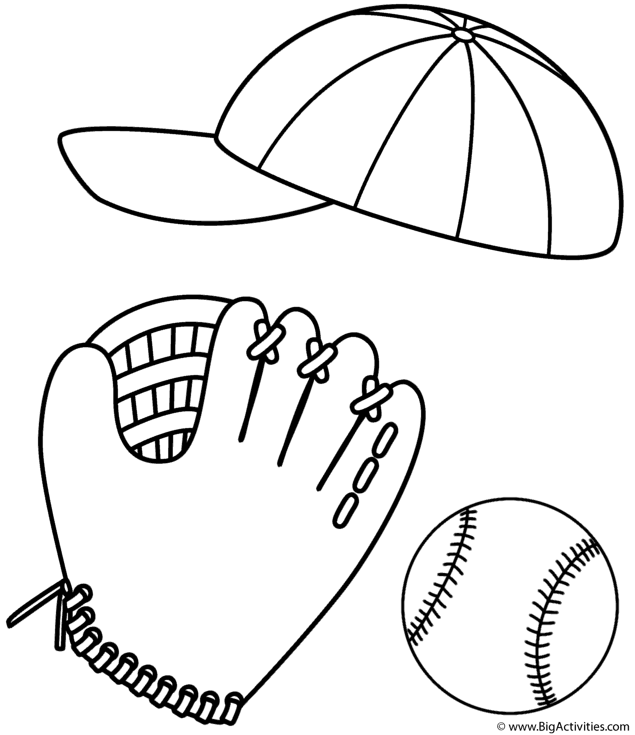 Baseball Cap Glove And Ball