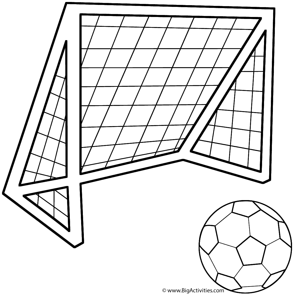 Soccer Ball With Soccer Net Coloring Page Sports