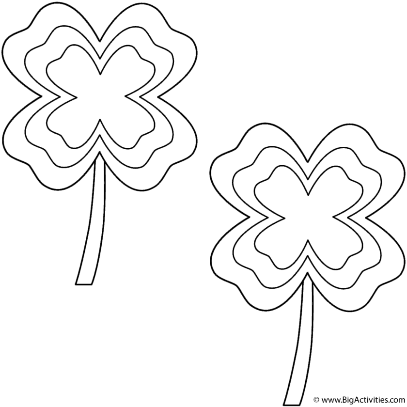 four leaf clovers  multiborder (2 clovers)  coloring