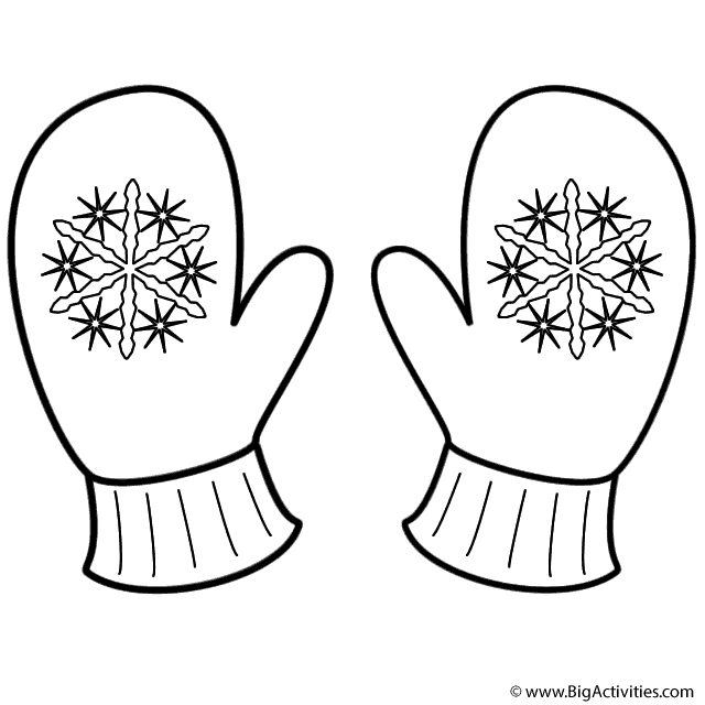 Mittens With Snowflakes Coloring Page Winter