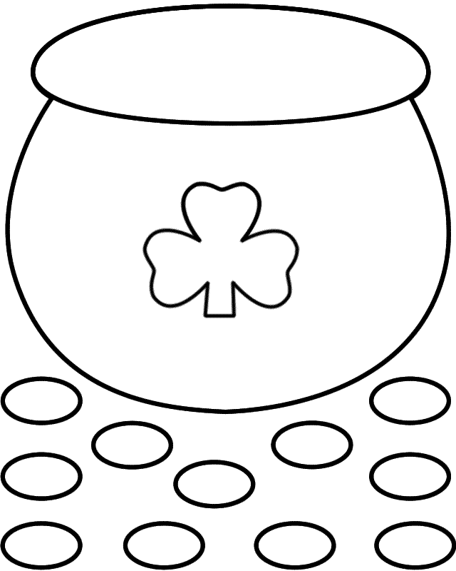 Pot Of Gold Paper Craft Black And White Template