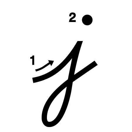 Lowercase j Handwriting Worksheet (trace 1, write 1)
