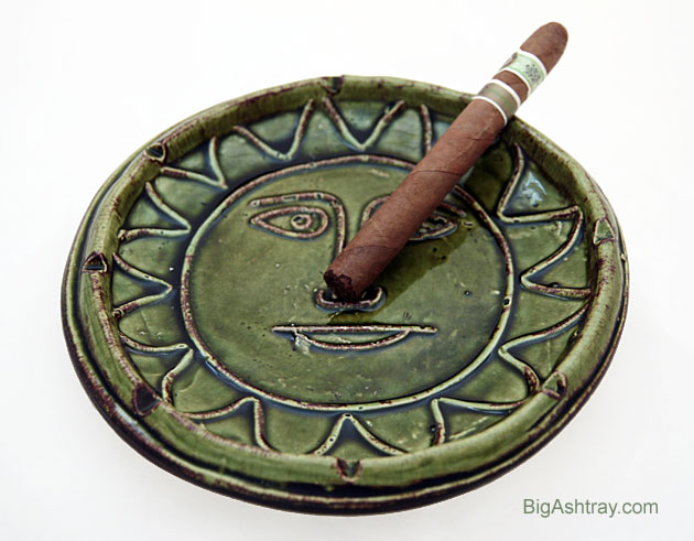 Hippie Decor Stoneware Sun Face Patio Ashtray