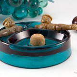 Modern Glass pipe ashtray in Turquoise blue will look great by your pool or on the deck.