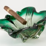 Hand-formed art glass vintage cigar ashtray made in Italy circa 1950's - 1970's.