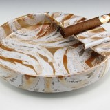 Absolutely beautiful Italian retro modern decor art ashtray made of redware pottery glazed in iridescent copper, cream and grey.