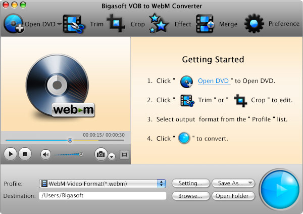 VOB to WebM Converter Mac - Create WebM/VP8 video from DVD