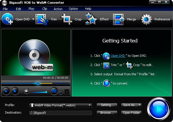 VOB to WebM Converter - convert VOB to WebM/VP8 fast