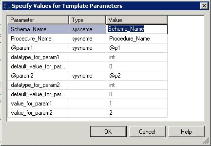 Specify values for template parameters in sql server for Sql server stored procedure template