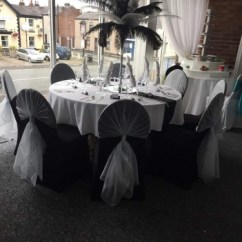 Black Chair Covers To Hire Revolving Cane Wedding The Big Balloon Company Leigh Lancashire Silver Hoods On