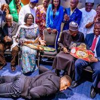 Anthony Joshua Postrates, Presents Heavyweight Titles To Buhari In UK (Photos)