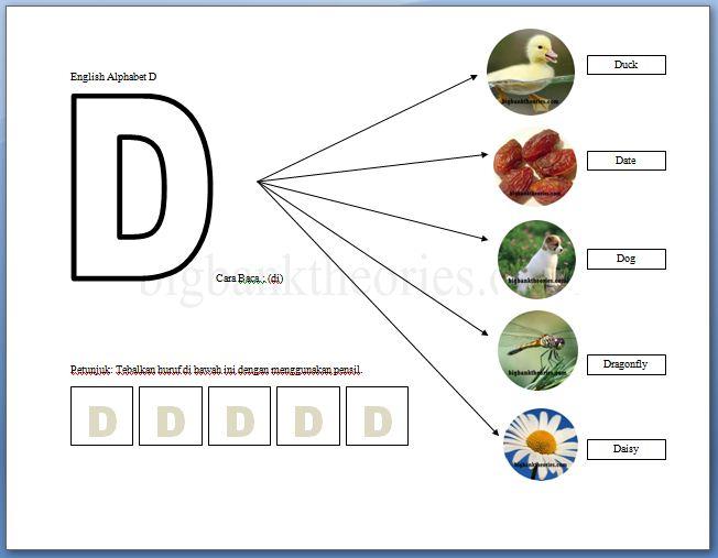 Lembar Latihan Alphabet Huruf D