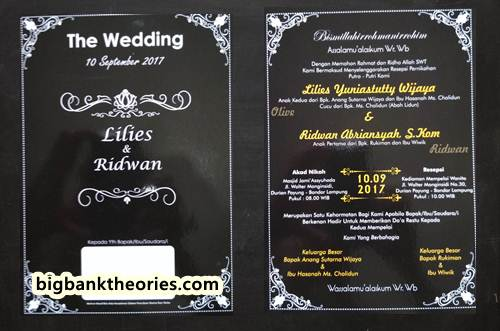 Example Of Wedding Invitation With Black Color