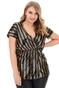 Striped Sequin Wrap Top Black/Gold