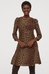 Puff sleeve gathered bust leopard print dress