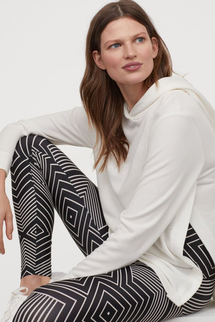 Black with white lines patterned leggings