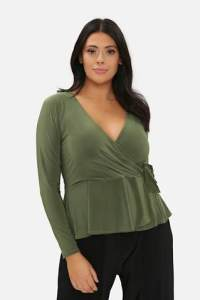 Olive Green Tie Wrap Top