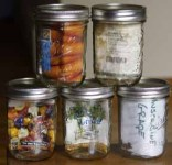 Leftover garden seeds in mason jars