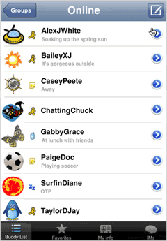 AIM buddy list on the iPhone