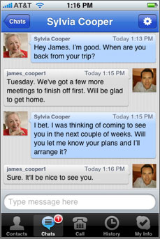 Skype for iPhone chat