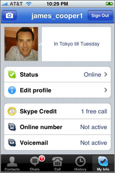 Skype for iPhone contact info