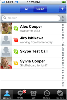 Skype for iPhone contact list