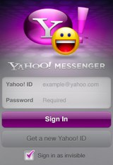 Yahoo Messenger for iPhone sign-in