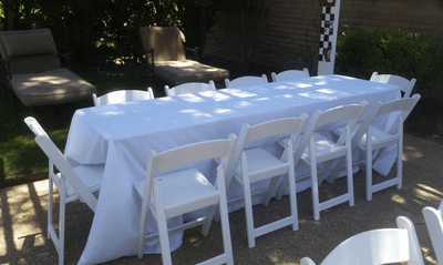 banquet chair accessories swivel drawing 8 ft rectangular tables for rent | wedding los angeles, ca - big blue ...
